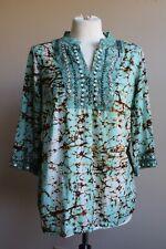 Wills Lifestyle WLS M Green Brown Batik Tie Dye Popover Shirt Top Viscose Cotton