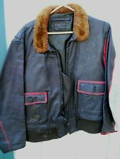 "Vintage ""U S Navy "" Brown Leather Flight Jacket Men'S Size Lrg(44) By Star As Is"