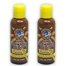 Hawaii KONA BROWNING LOTION 4oz New -Dark Hawaiian Tan w/ Kona Coffee *2 Bottles