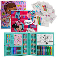 Disney 200 Pc Mega Art & Craft Set Pencil Colouring Pen Markers Sticker Toy Case