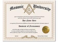 Masonic University Freemasonry Personalized Diploma w/Gold Seal Novelty Gift