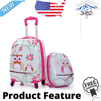 2Pc Kids Carry-on Luggage and Backpack Upright Hard Side Hard Shell Suitcase 12