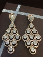 Pave 5.75 Carats Natural Diamonds Chandelier Earrings In Solid Hallmark 14K Gold