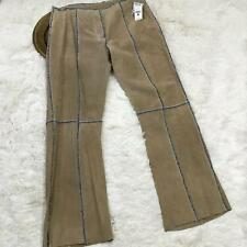 Wilsons Leather Womens Pants Size 18 Tan 100% Leather Suede Fringe Maxima 81117