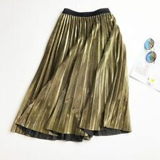 Women Skirt Casual Long Metallic Maxi Pleated Midi Elasticity High Waist Party