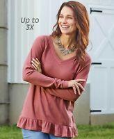 Ruffle Hem Thermal Top Women's Long Sleeve Shirt - Berry Plus Size 2X (22/24)