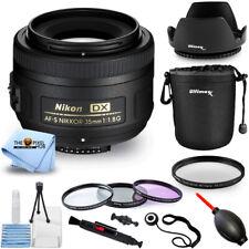 Nikon AF-S DX NIKKOR 35mm f/1.8G Lens (Black) Pro Lens Pouch Filter Kit Bundle
