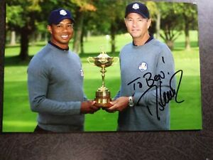 DAVIS LOVE Hand Signed Autograph 4X6 Photo With TIGER WOODS - PGA GOLF  - TO BEN