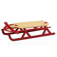 Puppenhaus Miniatur rot Metall Schlitten Holz mit Sitz