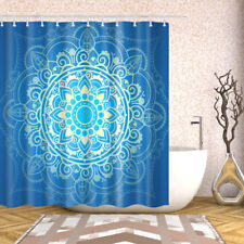 Bathroom Shower Curtain Decor Set Blue Mandala printing Bath Curtains + 12 hooks