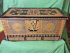 Rare Antique Very Large Wood & Brass Nail Middle Eastern Dowry Chest Excellent!