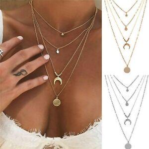 Boho Multi-layer Gold Chain Choker Necklace Star Moon Pendant Jewellery Gift