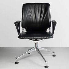 Vitra Meda Black Leather Office Chair M3 - Designed by Alberto Meda, Chrome Base