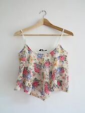 Women's New Look Lace Floral Cropped Vest Size 10