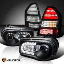 Black 05-07 Chrysler 300C LED DRL Strip Projector Headlights+LED Tail lights