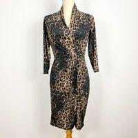 JANE LAMERTON Petities Size 10 Animal Print Dress Midi Leopard Stretchy Bodycon
