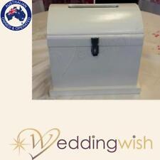 White Wooden Treasure Chest, Lockable Wedding Wishing Well