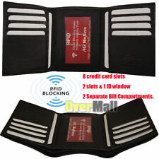 New Mens Trifold Genuine Leather RFID Blocking Wallet Black New AG Wallets Gift
