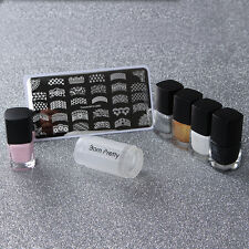 8pcs/set French Nail Art Stamping Stamp Plate Polish & Peel Off Liquid Tape DIY