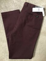 """LACOSTE MEN'S BURGUNDY RED SLIM FIT CHINOS TROUSERS PANTS HH9553- 36"""" - NEW TAGS"""