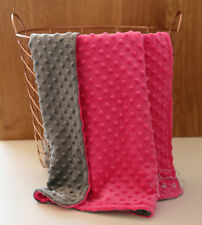 *SPECIAL* Hot Pink Grey Minky Baby Blanket Stroller Pram Crib Shower Gift