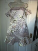 BNWT UK 10 LIPSY Dress Summer Jacquard Pastel Pink Bardot Metallic Embroidery