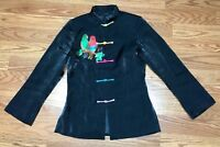 Traditional Chinese Style Brocade Long Sleeve Shirt Shimmery Black Size Small