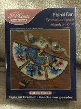 "J&P Coats #25033 Floral Fan Latch Hook Rug measures 18"" X 32"" sealed NIB"