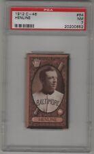 1912 C46 Imperial Tobacco Baseball Card #64 Noah Henline Baltimore Orioles PSA 7