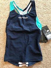 Orca Core Support Women Sleeveless Running Triathlon Singlet Bra Navy/Teal Sz Xs