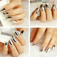 70x Unghie Finte Adesivo Metallizzato Manicure Nail Art DIY Bellezza