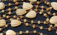 "48"" VINTAGE Caramel colored molded Glass Bead Necklace Wired"