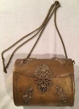 Antique Ladies Hardshell Brass Purse Handbag Art Deco Style with Chain Strap