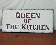 Queen of the Kitchen Antiqued White Shabby Chic Wood Plaque Wall Decor Art Sign