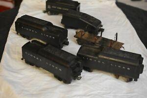 6 Vintage Train Pieces:  3 Lionel Tenders, 1 Mar ToyTender, 1 Tender, 1 Flat Car