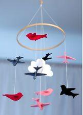 Baby song bird mobile for crib & nursery: pink, grey, white, cloud hanging girl