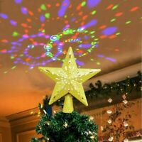 Christmas Tree Topper Lighted Star LED Projector Rotating Snowflake Decor Lamp