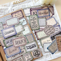 47PCS Vintage English Label Stickers Paper Scrapbooking Junk Journal Card DIY