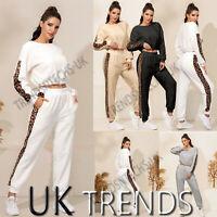 UK Womens 2 PCS Tracksuits Set Ladies Crop Top Joggers Fleece Pyjamas Loungewear