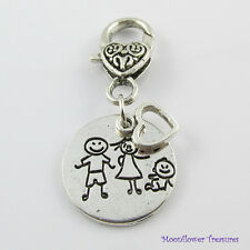 Heart & Family Clip on Charm for Bag Purse Tote or Zipper Pull