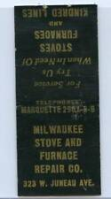 MILWAUKEE STOVE AND FURNACE REPAIR CO. MATCHBOOK COVER