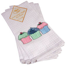 100% White Cotton Shabby Waffle Embroidered Pretty Cupcake Tea Towel