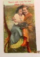 """1910s Romance postcard of """"There's Only Room for Two Where I am."""""""