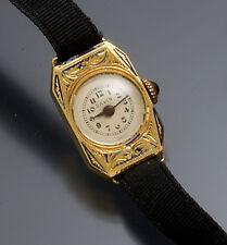WOMEN'S VINTAGE ART DECO 18K GOLD SAVIN WATCH WITH ENAMEL TRIM CA1920S