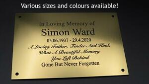 Engraved Memorial Plaque, Office Sign, Brass or Silver effect