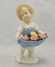 Karl Ens Germany Porcelain Figurine Girl Holding Apron of Roses