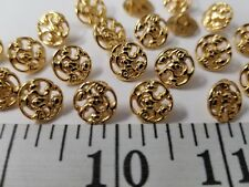 VINTAGE BUTTONS SET OF 12 TINY GOLD BRASS METAL  TUZ2473
