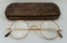 Vtg Victorian Hadley 10ct Rolled Gold Spectacles Reading Glasses Case Steampunk