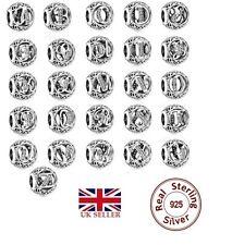 Sterling Silver Vintage Alphabet / Letter Initial Charms S925 UK SELLER