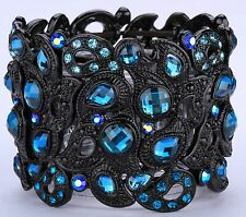 Wide Sparkling Peacock Stretch Cuff Bracelet Crystal Rhinestone Black Blue BD14